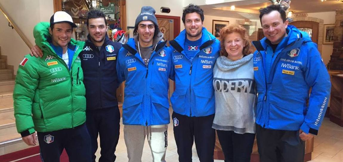 The Italian Alpine skiing giant slalom team at the Moseralm