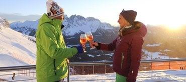 Sunset Skiing Aperitif in Carezza