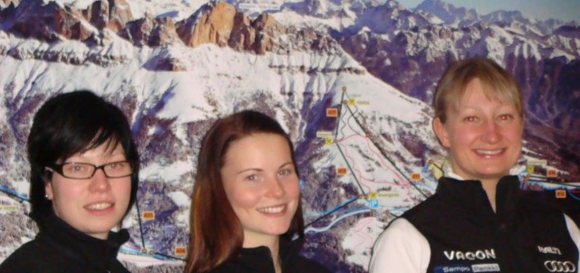 Finnische Skigirls trainieren unterm Rosengarten