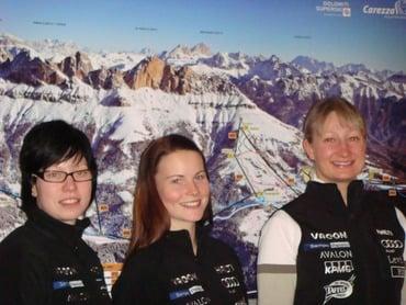 Sciatrici finlandesi in allenamento sotto il Rosengarten